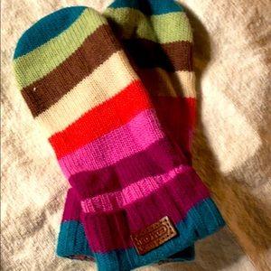 Coach Women's striped mittens. Multi-color
